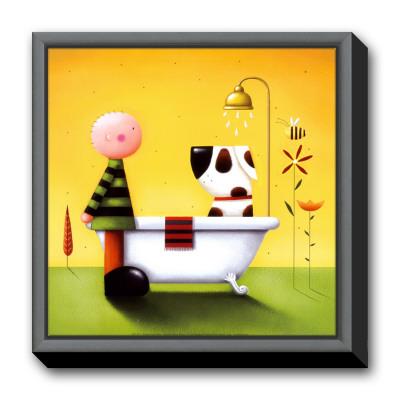 Bathtime Framed Canvas Print by Jo Parry