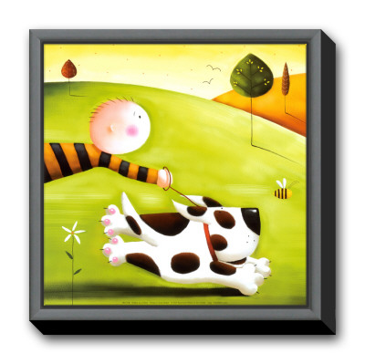 Walkies Framed Canvas Print by Jo Parry