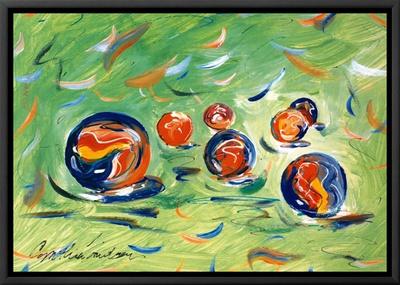 Marbles Framed Canvas Print by Cynthia Hudson