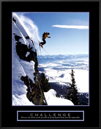 Challenge: Skier Framed Canvas Print