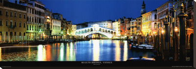 Rialto Bridge, Venice Stretched Canvas Print by John Lawrence