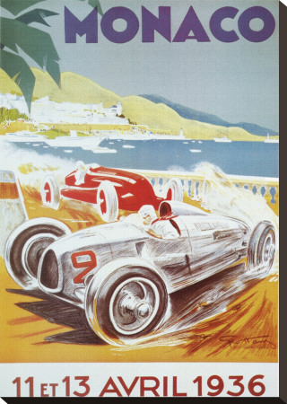 8th Grand Prix Automobile, Monaco, 1936 Stretched Canvas Print by Geo Ham