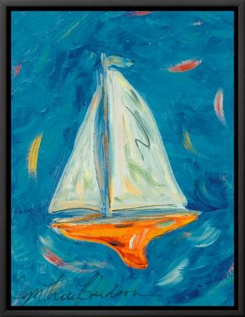 Sailboat Framed Canvas Print by Cynthia Hudson