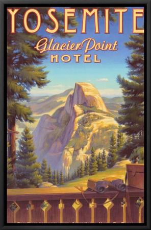 Yosemite, Glacier Point Hotel Framed Canvas Print by Kerne Erickson