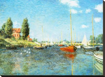 Red Boats at Argenteuil, c.1875 Kunst op gespannen canvas van Claude Monet