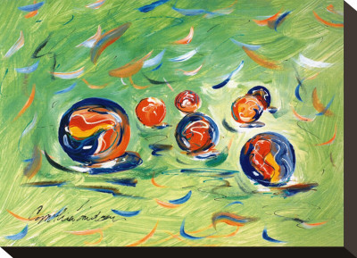 Marbles Stretched Canvas Print by Cynthia Hudson