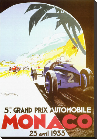 5th Grand Prix Automobile, Monaco, 1933 Stretched Canvas Print by Geo Ham