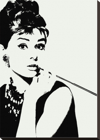 Audrey Hepburn: Cigarillo Stretched Canvas Print