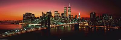 Nueva York - Puente de Brooklyn de noche Póster