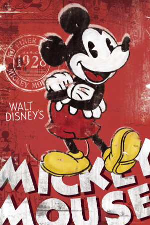 Vintage Mickey Mouse Red Cartoon Poster
