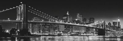 New York - Brooklyn Bridge b/w Door Poster