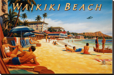 Waikiki Beach Stretched Canvas Print by Kerne Erickson