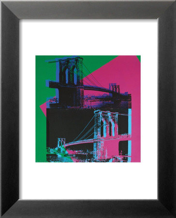Brooklyn Bridge, c.1983 (Green, Blue, Pink) Reproductions d'art plastifiées encadrées