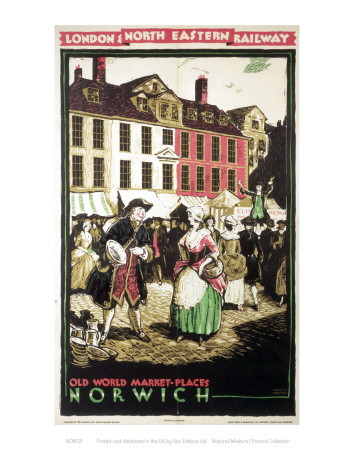 Old World Market Place Norwich Poster