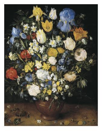 Bouquet in a Clay Vase Prints by Jan Brueghel the Elder