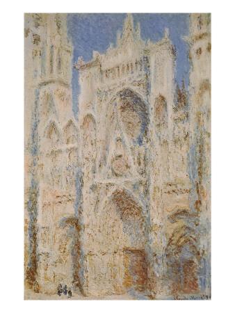 Rouen Cathedral, West Façade, Sunlight Art by Claude Monet