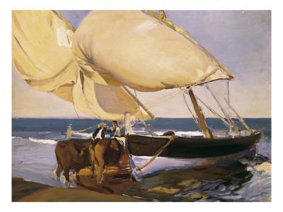 Launching the Boat Posters by Joaquín Sorolla y Bastida