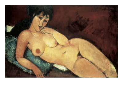 Nude on a Blue Cushion Art by Amedeo Modigliani