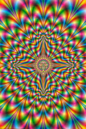 Psychodelic pulse psychedelic fractal trippy poster