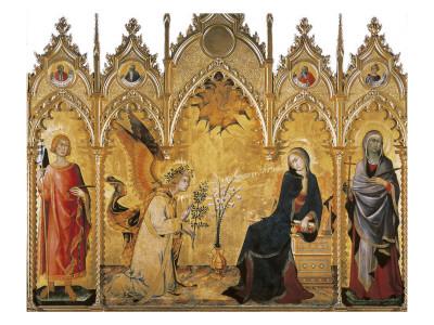 The Annunciation and Two Saints (Annunciazione E Due Santi) Posters by Simone Martini