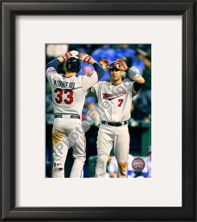 Joe Mauer & Justin Morneau 2010 Framed Photographic Print