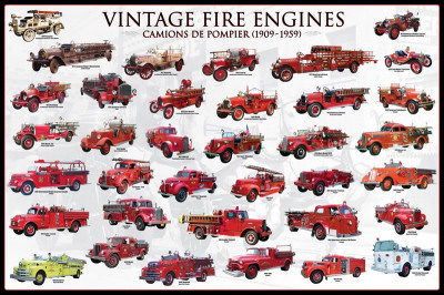 Vintage Fire Engines Póster