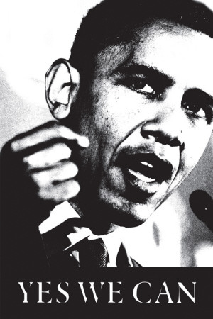Obama - Yes We Can (black and white) Poster