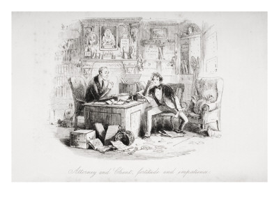 Attorney and Client, Fortitude and Impatience, Illustration from 'Bleak House' by Charles Dickens Premium Giclee Print by Hablot Knight Browne