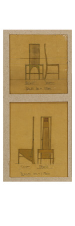 Designs for Chairs Shown in Front and Side Elevations, for the Room De Luxe, Willow Tea Rooms, 1903 Giclee Print by Charles Rennie Mackintosh