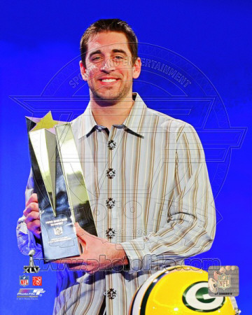 NFL Aaron Rodgers with Super Bowl XLV MVP Trophy (23) Photo
