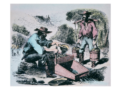 gold rush california 1849. Wash Gold Dirt During the