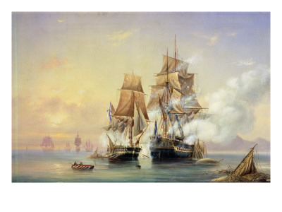 The Russian Cutter Mercury Captures the Swedish Frigate Venus on 21st May 1789, 1845 Premium Giclee Print by Aleksei Petrovich Bogolyubov