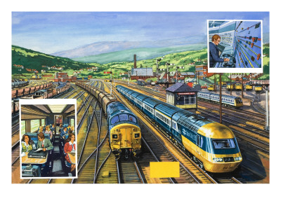 The Diesel-Powered 'Inter-City 125' Alongside a Train of Special Malt Containers Hauled Premium Giclee Print by  Green
