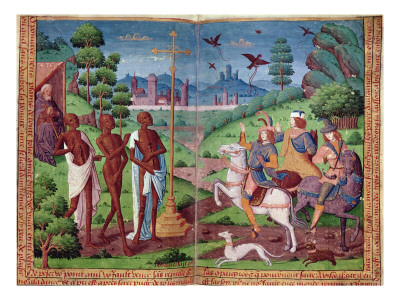 The Legend of the Three Living Men and the Three Dead Men, from the Book of Hours of Charles V Premium Giclee Print by  German School