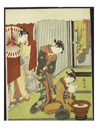 Figures in an Interior, a Courtesan Looking at Her Shinzo Who Is Reading a Love Letter Premium Giclee Print by Suzuki Harunobu