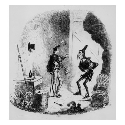 Nicholas Instructs Smike in the Art of Acting, Illustration from `Nicholas Nickleby' Giclee Print by Hablot Knight Browne