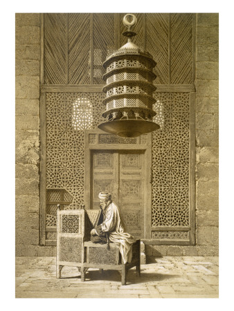 An Imam Reading the Koran in the Mosque of the Sultan, Morocco, 1817 Gicleetryck
