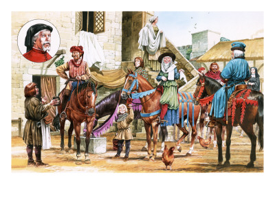 Canterbury Tales. Pilgrims Setting Off from the Tabard Inn. Premium Giclee Print by Michael Godfrey