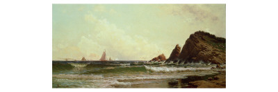 Cliffs at Cape Elizabeth, Portland Harbour, Maine, 1882 Giclée-tryk