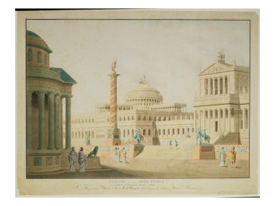 The Capitol, Set Design for 'Titus', by Wolfgang Amadeus Mozart Premium Giclee Print by Friedrich Beuther