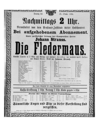 Poster Advertising 'Die Fledermaus' by Johann Strauss the Younger, for a Performance Premium Giclee Print by  Austrian School
