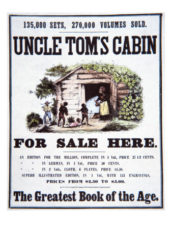 Poster Advertising 'Uncle Tom's Cabin' by Harriet Beecher Stowe Giclée-tryk af  American School