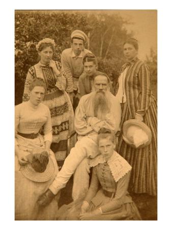 The Author Leo Tolstoy with His Family in Yasnaya Polyana Premium Giclee Print by Count Semyon Semyonovich Abamelek-Lazarev