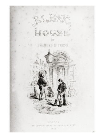 Title Page of 'Bleak House' by Charles Dickens Premium Giclee Print by Hablot Knight Browne