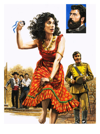 The Gipsy Girl Who Conquered the World, Carmen, Illustration from 'The Music-Makers', 1982 Premium Giclee Print by  Payne
