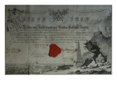 Certificate Issued by the Worshipful Master of a Masonic Lodge, 1785 Premium Giclee Print by  German School