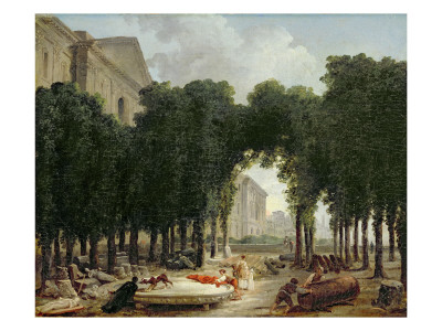 The Louvre and the Gardens of the Infanta, 1798 reproduction procédé giclée