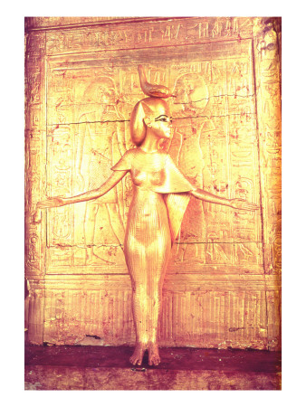 The Goddess Selket on the Canopic Shrine, from the Tomb of Tutankhamun Premium Giclee Print by  Egyptian 18th Dynasty