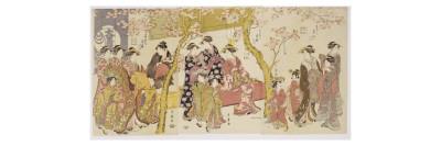 Three Groups of Courtesans with their Shinzo and Kamuro Giclee Print by Kitagawa Utamaro