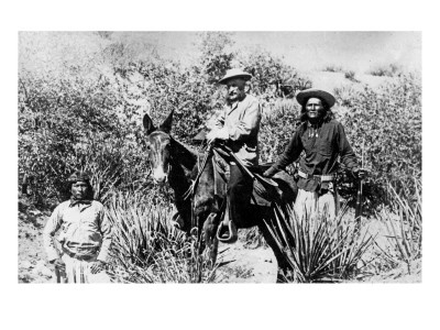 General George Crook on a Mule, with Two Apache in Arizona, 1882 Giclee Print by  American Photographer